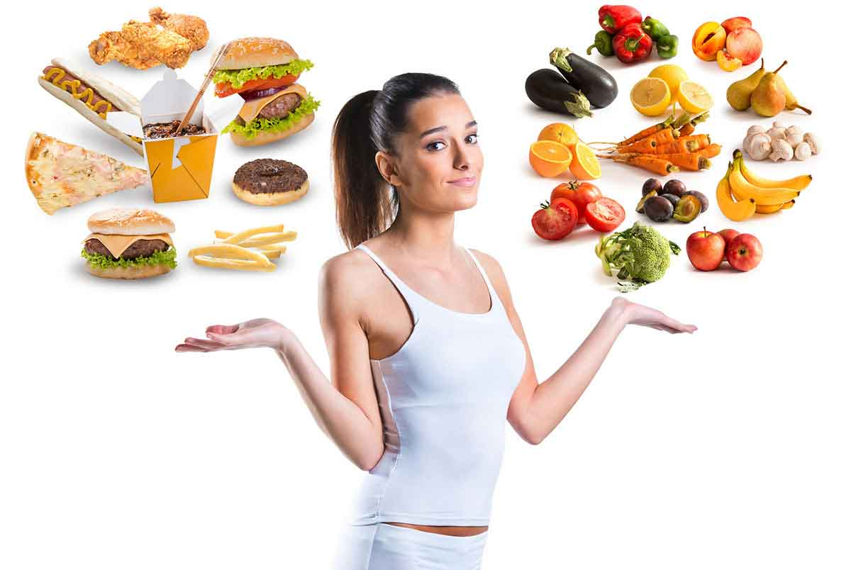 Lady compares group of unhealthy foods vs group of healthy foods