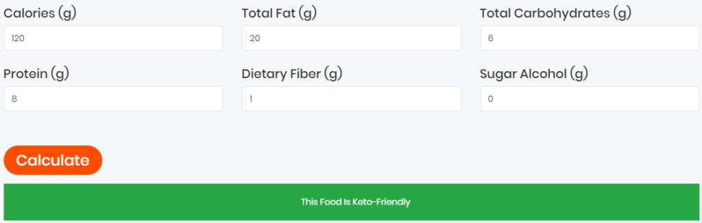 Ketofoodist.com food label calculator result