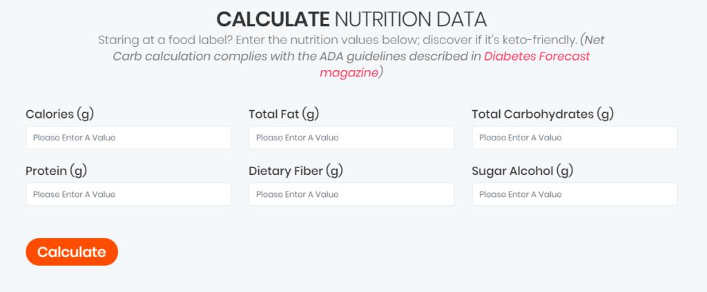 Ketofoodist.com food label calculator