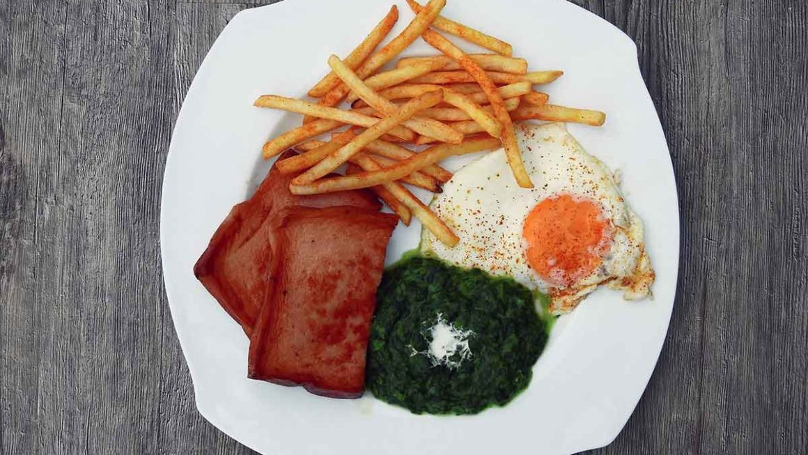 Plate of fries, eggs, spinach, and spam
